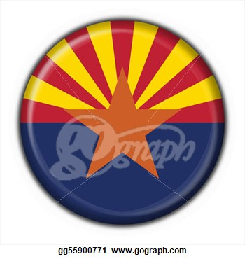 Clipart   Arizona  Usa State  Button Flag Round Shape   3d Made  Stock