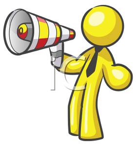 Clipart Image Of A Yellow Man Speaking Into A Bullhorn