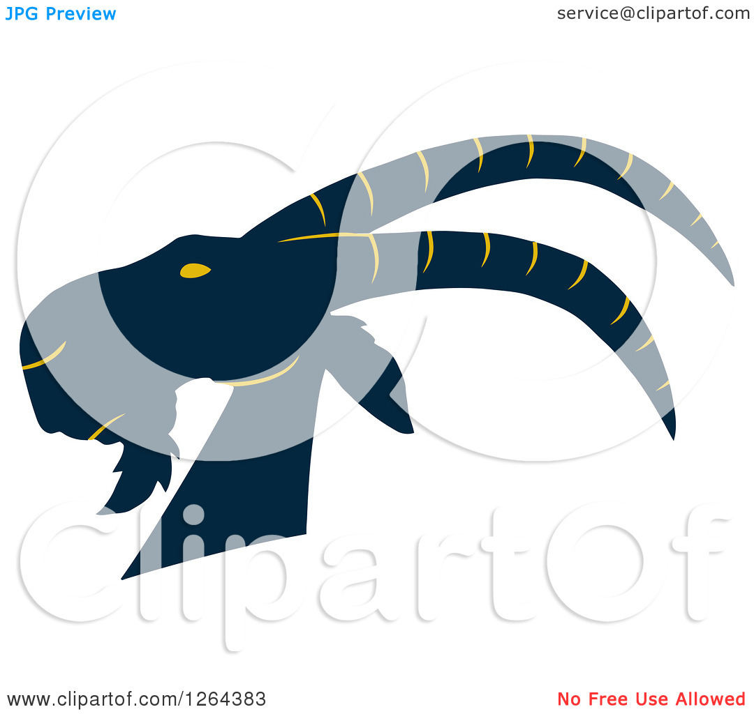Clipart Of A Navy Blue And Yellow Buck Goat Head   Royalty Free Vector