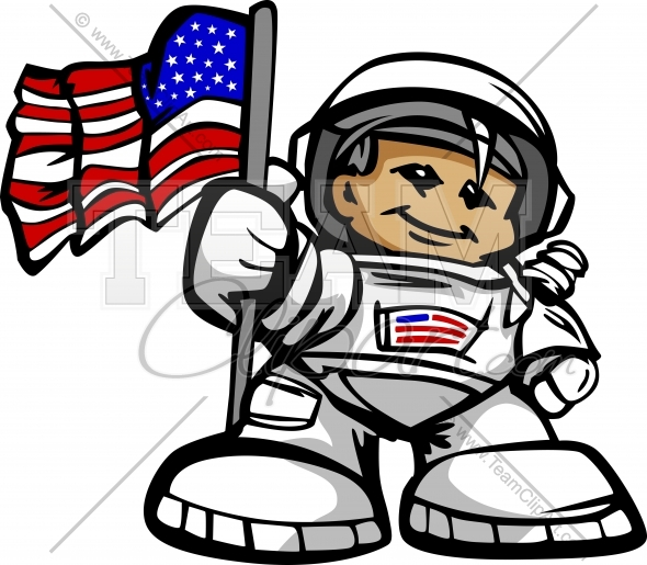 Happy Astronaut Spaceman With American Flag Cartoon Vector