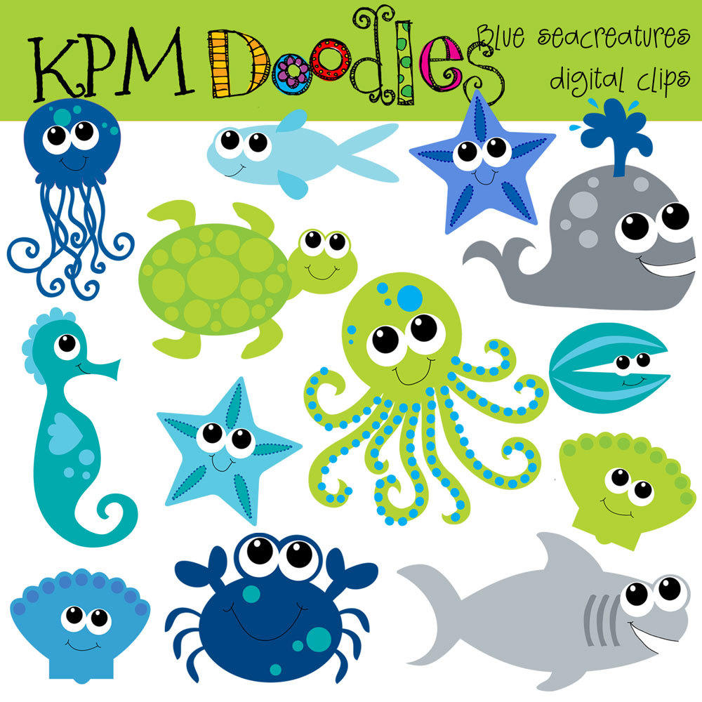 Instant Download Blue Sea Creatures Digital Clip Art By Kpmdoodles