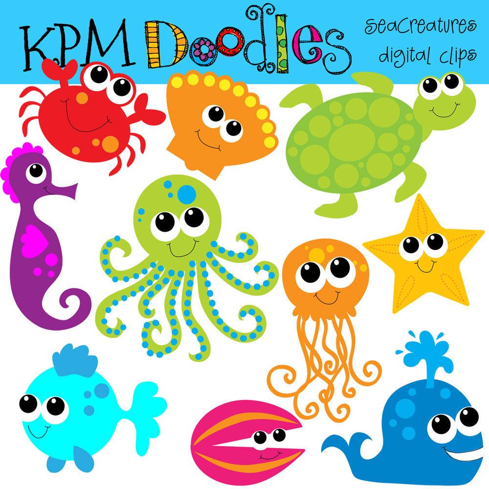 Clip Art Sea Creatures Clipart sea creatures clipart kid kpm bright digital clip art by kpmdoodles on etsy