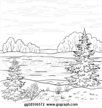 Lake Black And White Clipart Clip Art   Landscape  Forest