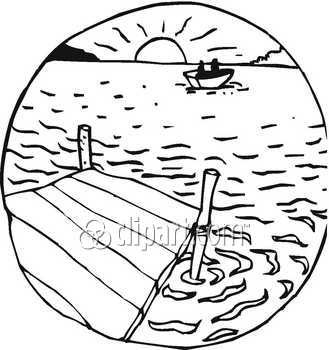 Lake Clipart Black And White Boat Clip Art