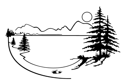 Landscape Mountain Lake Scenery Vinyl Graphic Decal 001