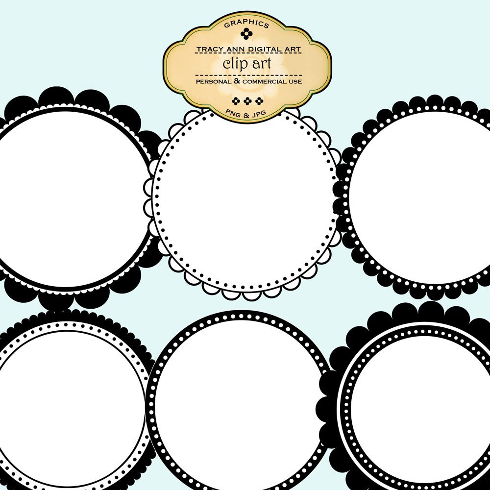 Round Clip Art Labels And Frames Commercial By Tracyanndigitalart