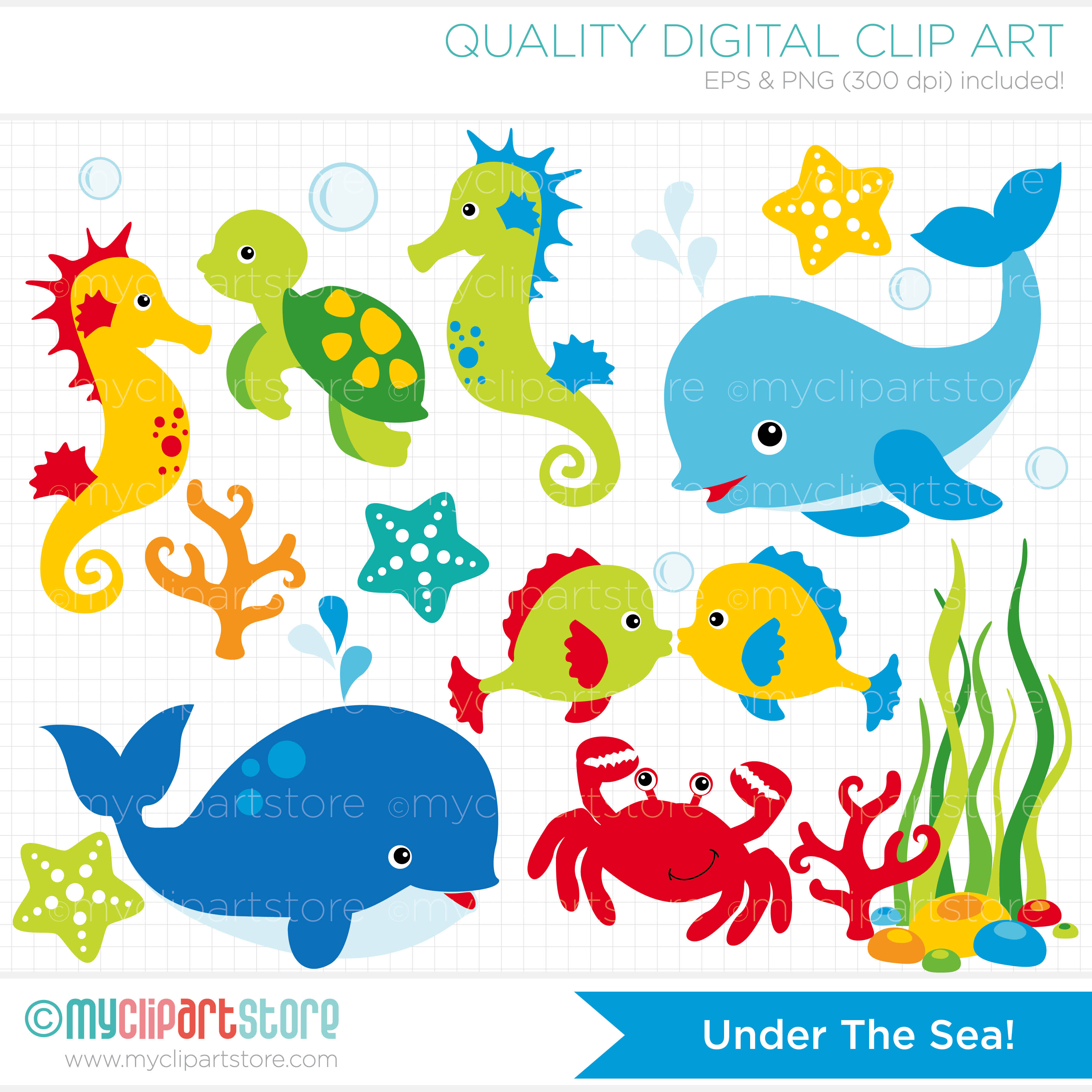 Cartoon Sea Creatures Clipart - Clipart Kid