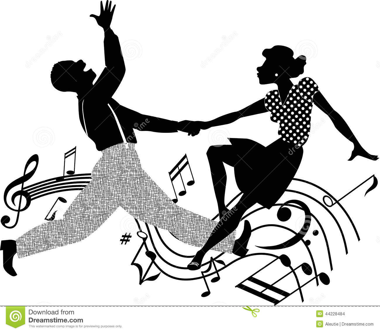 Silhouette Vector Illustration Of An African American Couple Dancing