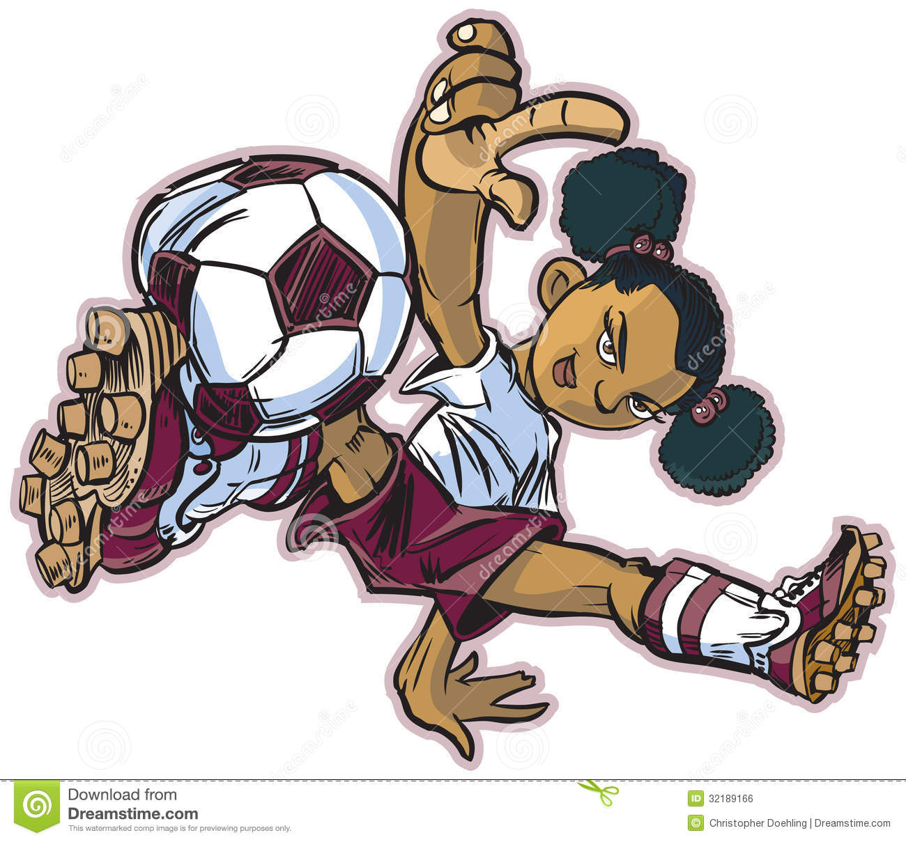 Vector Clip Art Cartoon Of An African Girl Using A Break Dancing Move