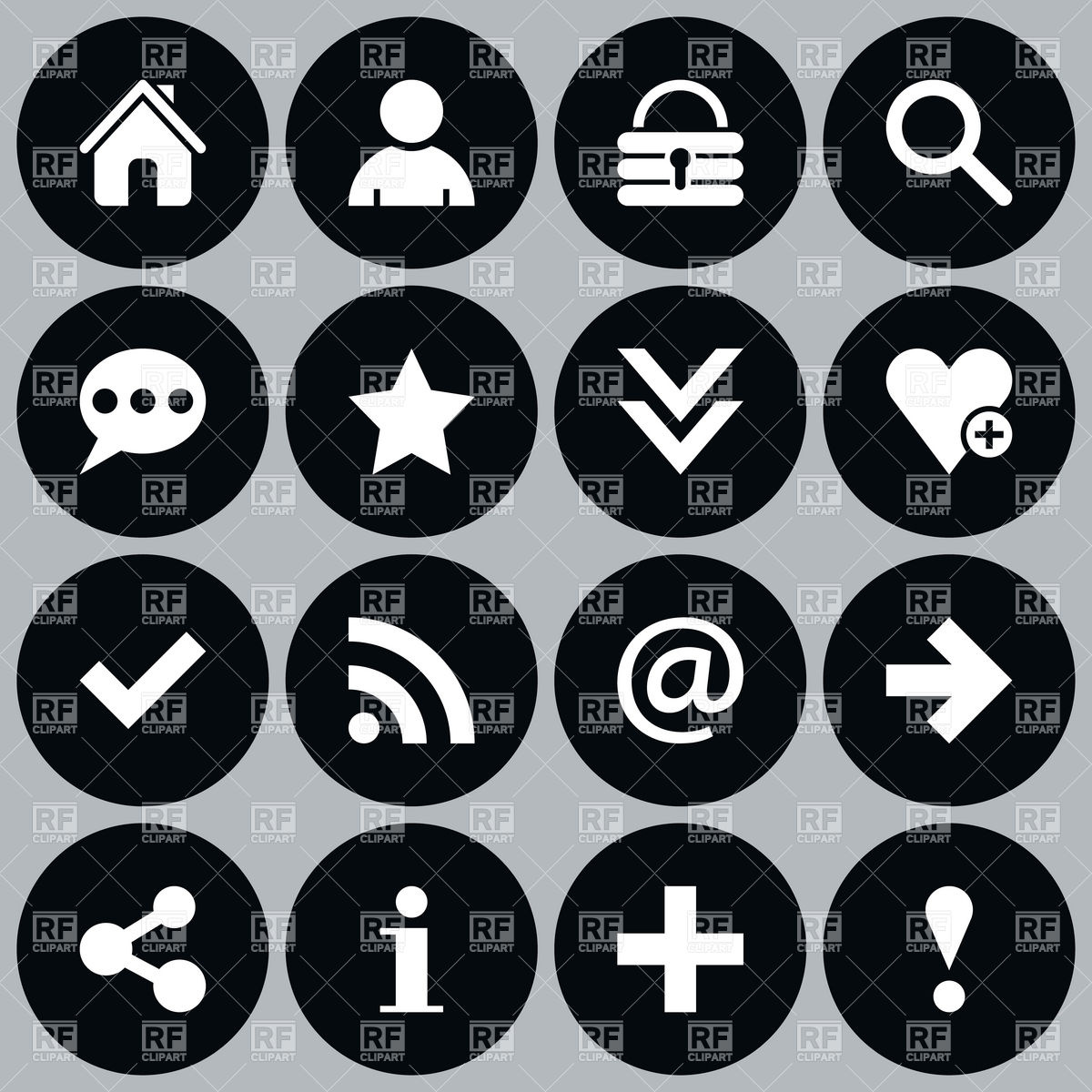 Website Icons Round Shape Download Royalty Free Vector Clipart  Eps