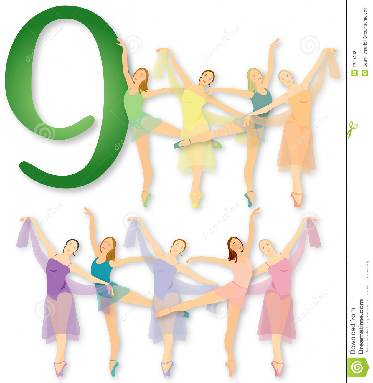 12 Days Of Christmas  9 Ladies Dancing Stock Photos   Image  1309463