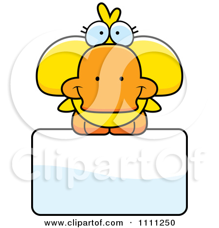 Clipart Cute Duck On A Sign   Royalty Free Vector Illustration By Cory