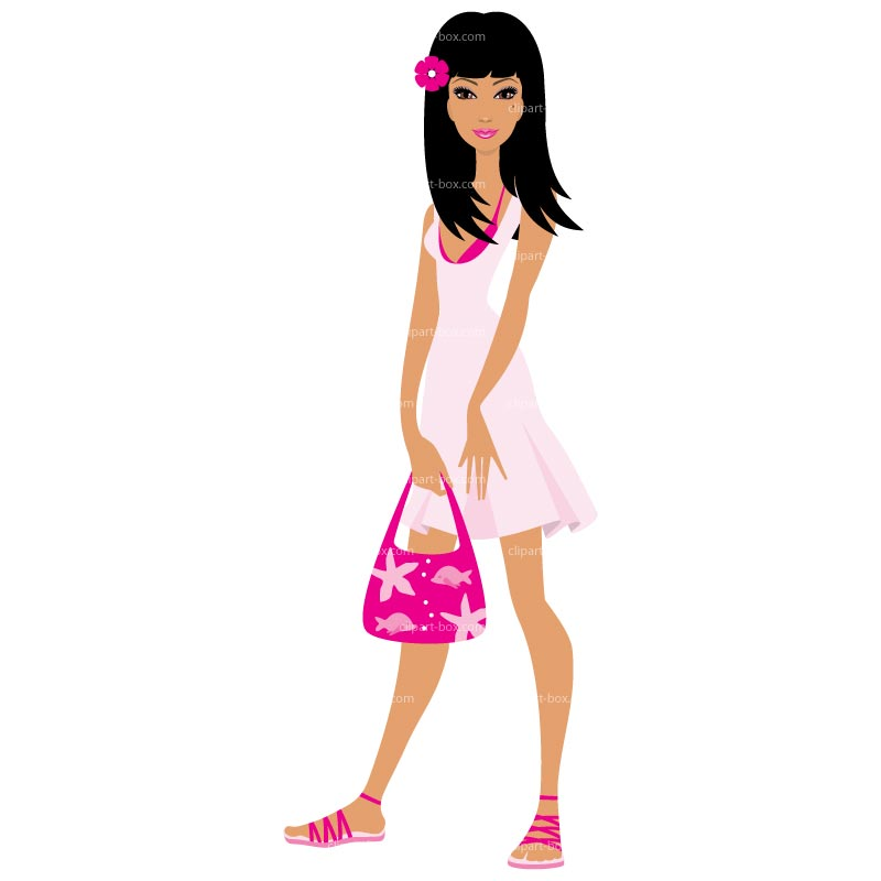 Clipart Cute Girl Standing   Royalty Free Vector Design