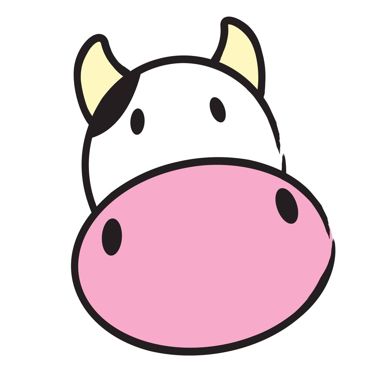 Cow Clipart   Simple Vector Illustration Of A Cute Cow Head  The Cow