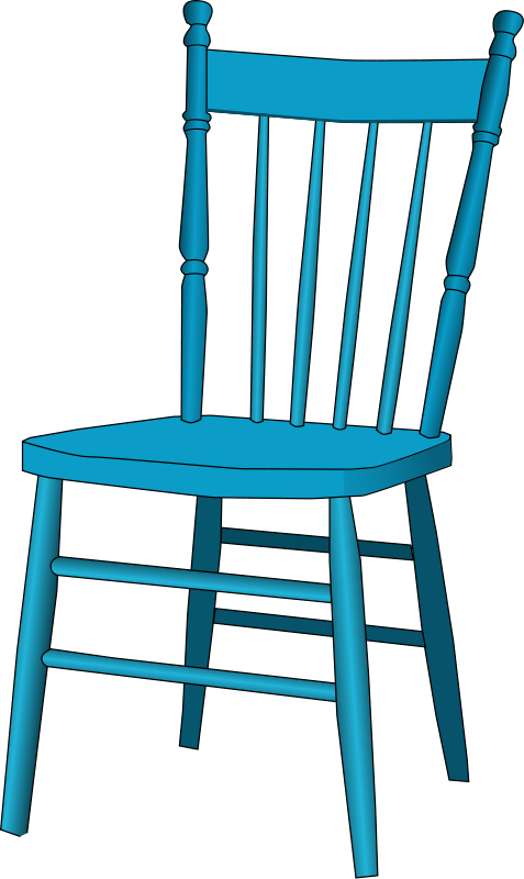 Free Old Blue Wooden Chair Clip Art