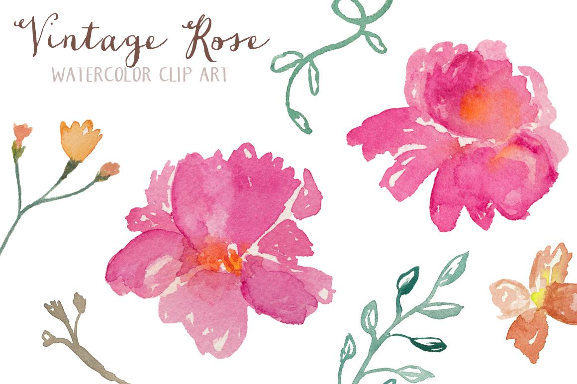 Home Clip Art Vintage Roses Watercolor Clip Art