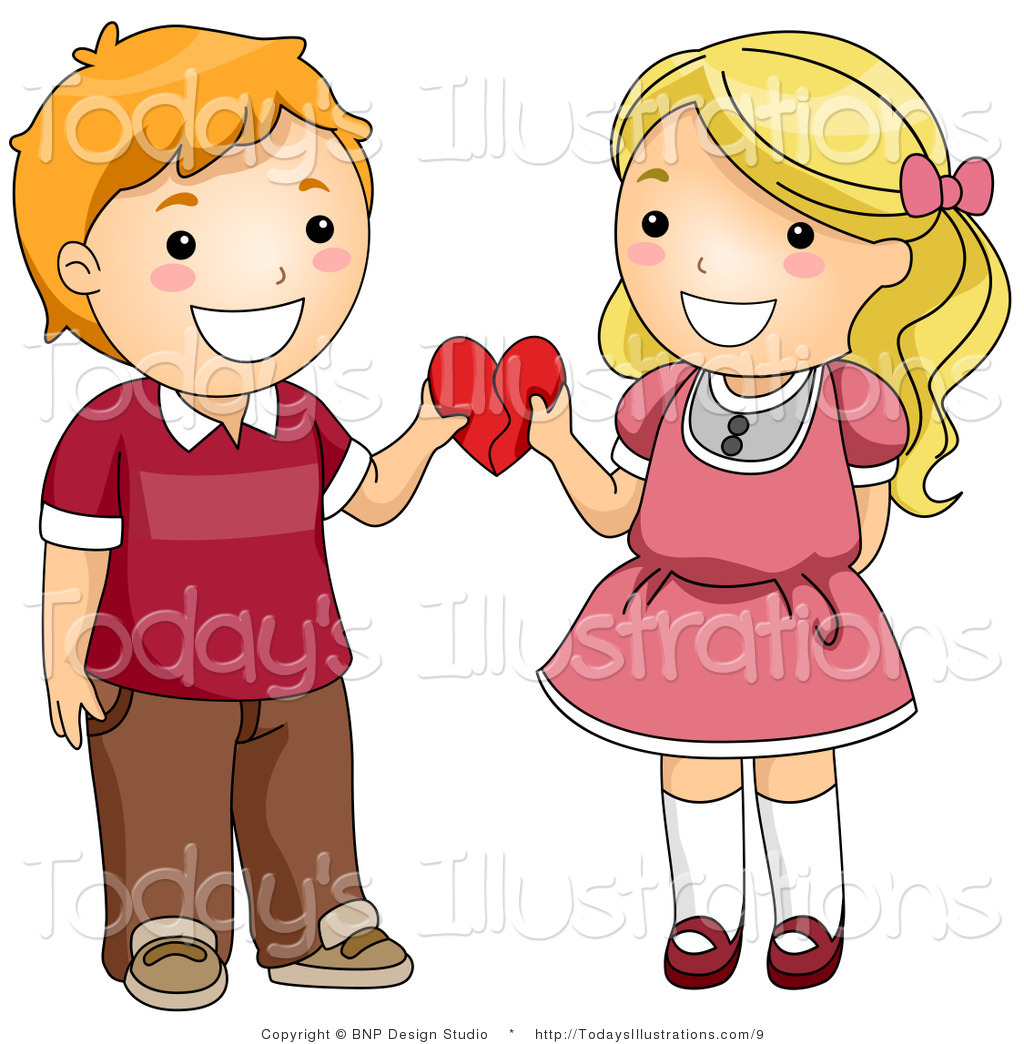 Vector Clipart Of A Valentine Kid Couple Holding A Heart By Bnp Design