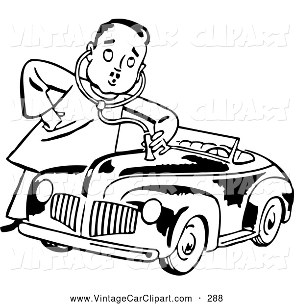 Car A Check Up Vintage Car Clip Art Bestvector