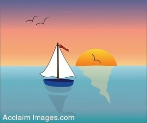 Description  Clip Art Of A Sailboat On The Ocean At Sunset  Clip Art