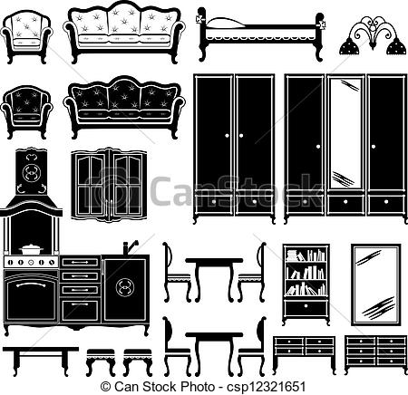 Image Of Furniture And Accessories For The Room In Black And White