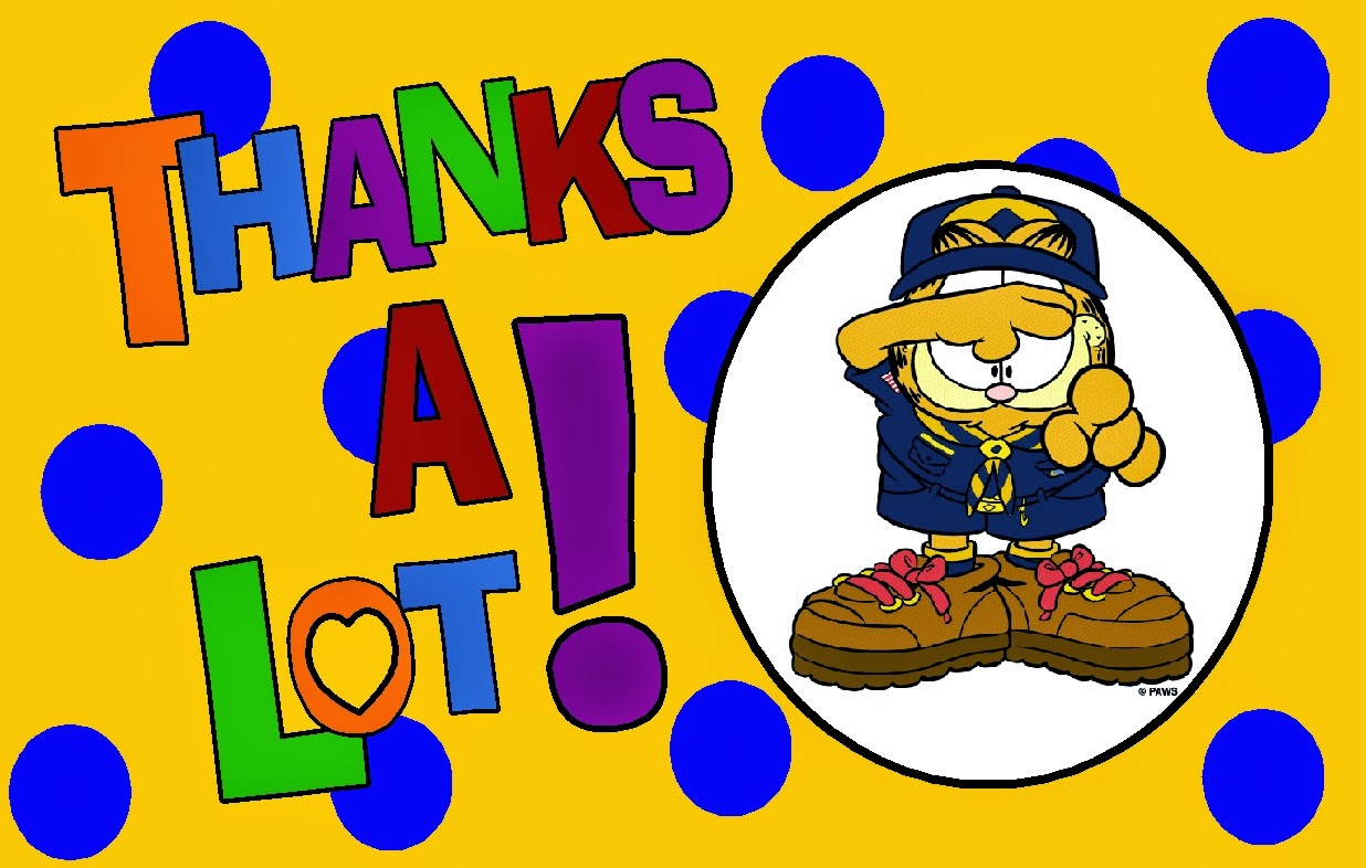 Image Thank You Card   Thanks A Lot  Great Clipart Image Of Garfield