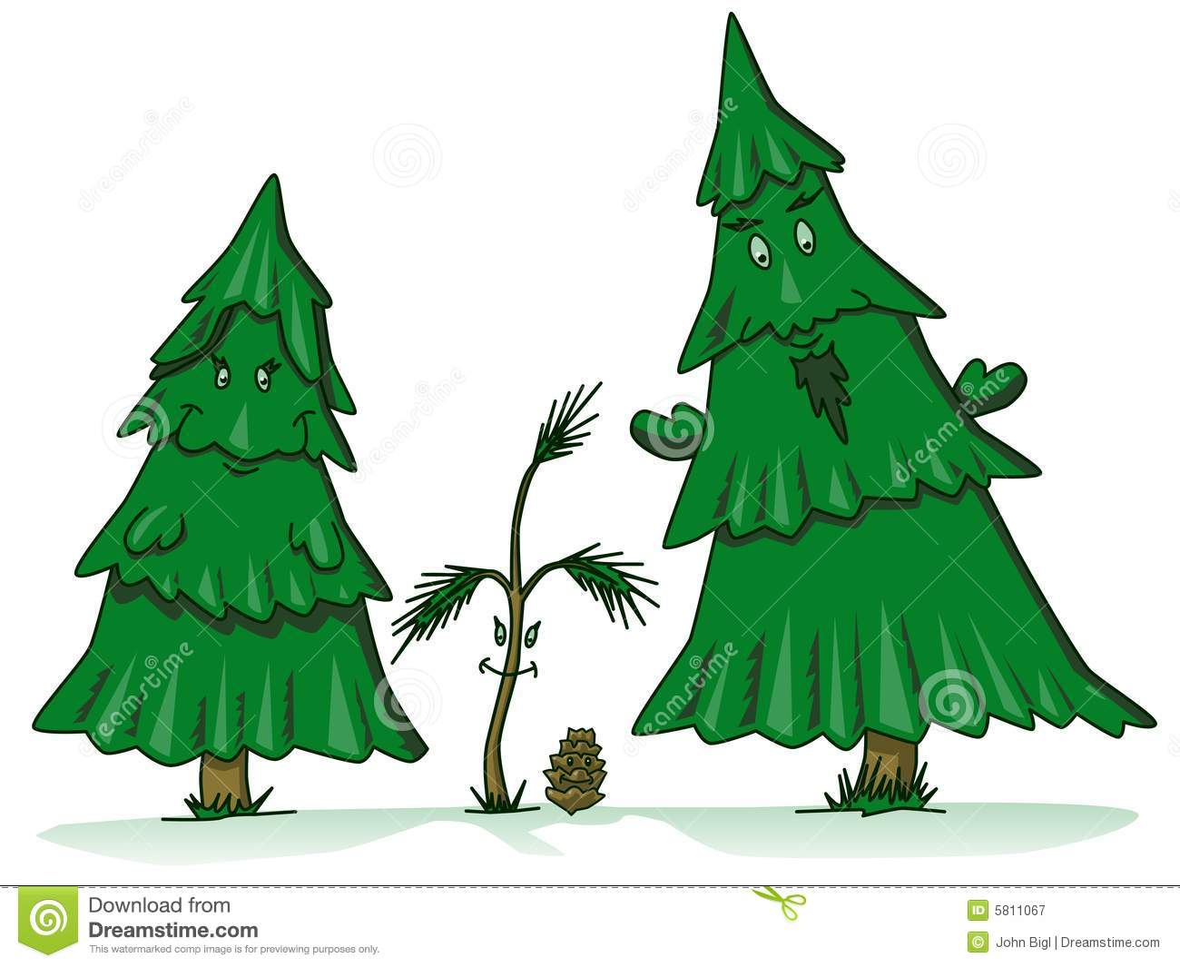 Pine Tree Family Cartoon With Sapling Daughter And Pinecone Son
