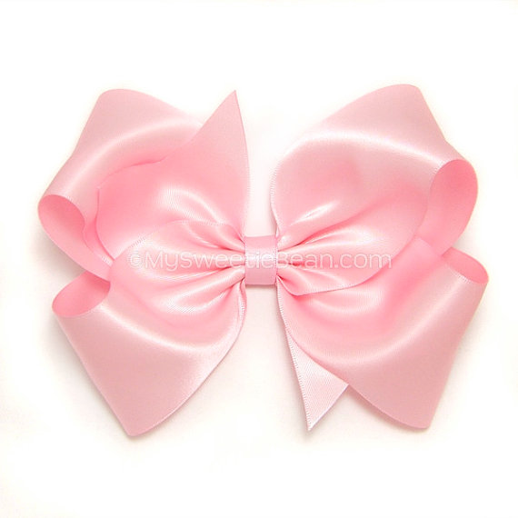 Pink Satin Hair Bow Extra Large Satin Bow 6 Inch Bow Pink Satin Bow