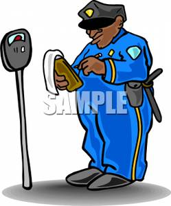 Police Officer Writing A Parking Ticket Clip Art Image