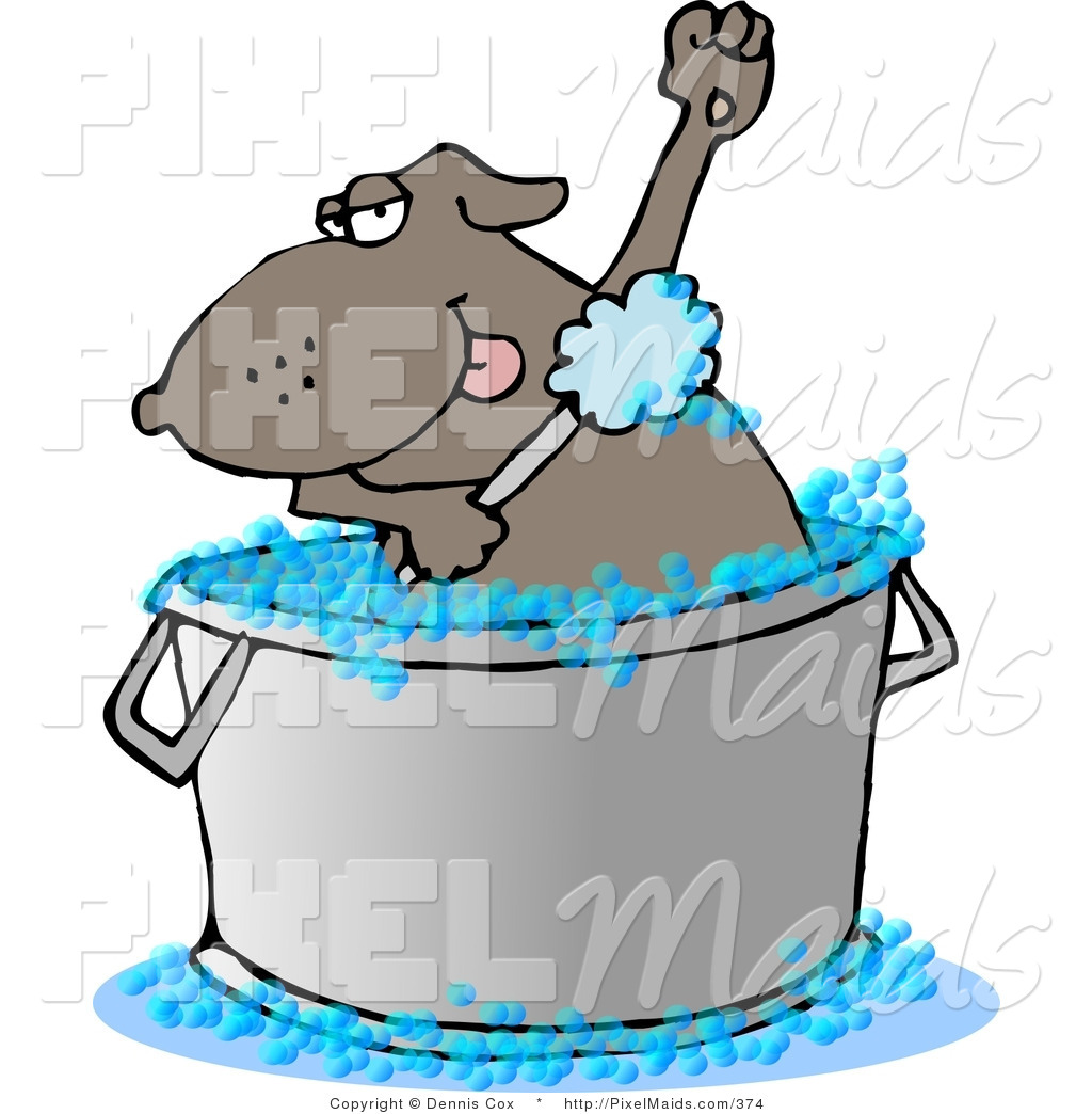 Preview  Clipart Of A Bathing Brown Dog In A Large Wash Tub By Djart