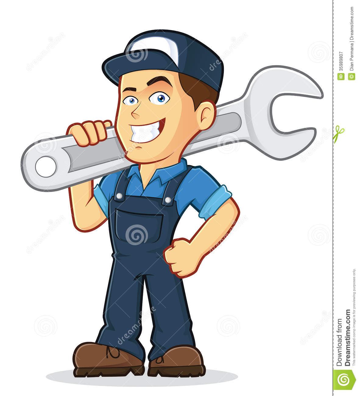 Vector Clipart Picture Of A Male Mechanic Cartoon Character Holding A