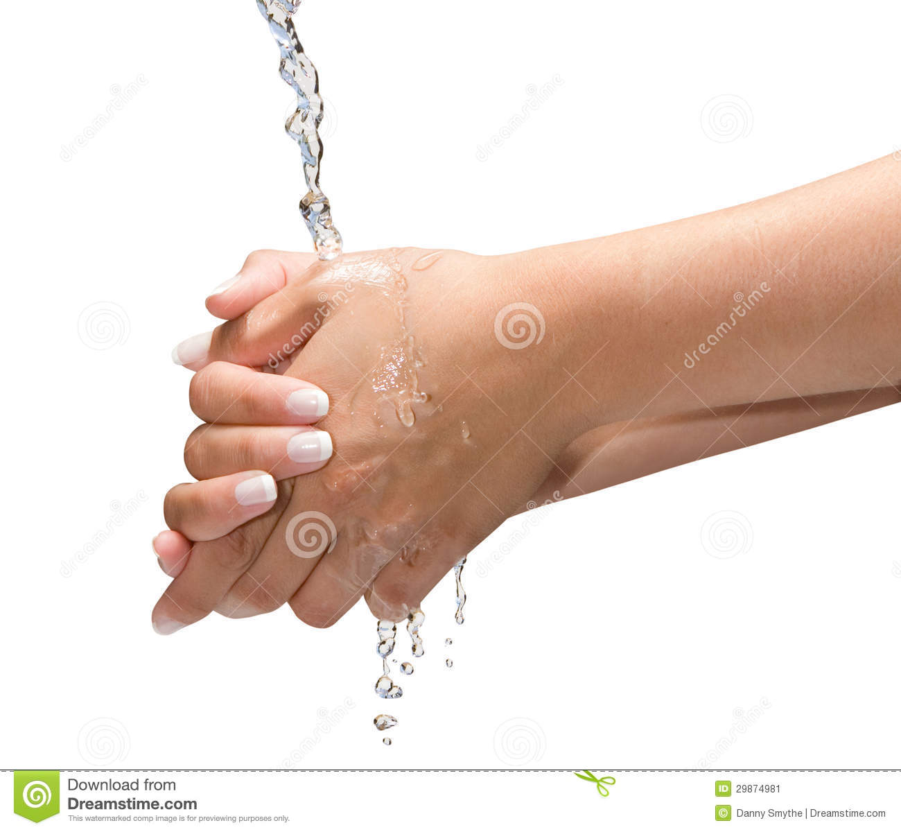 Washing Hands Isolated With Clipping Path On White  The Isolation Is