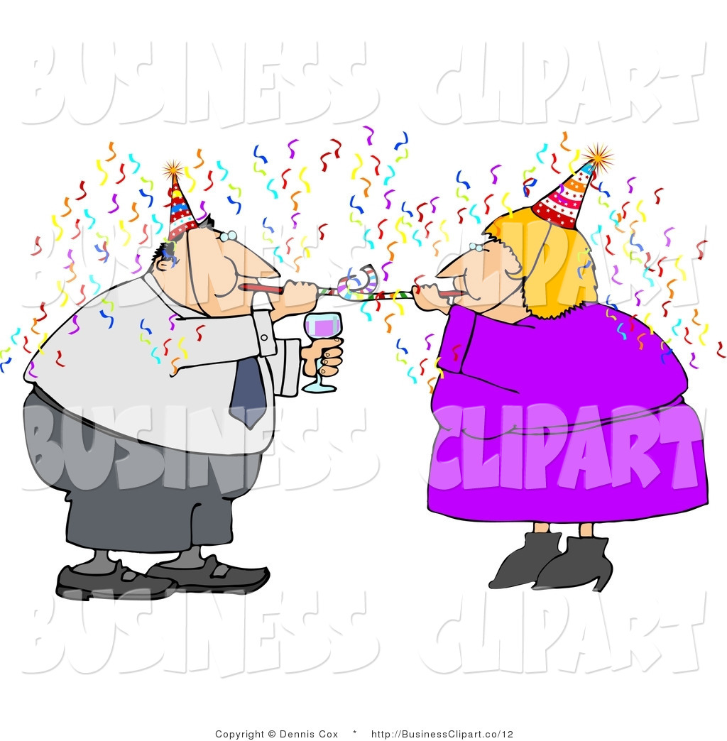 Clip Art Of A Couple Having Fun At A New Year Party By Djart    12