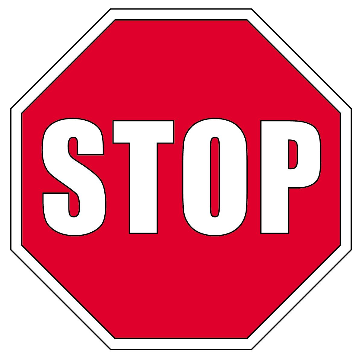 Clip Art  Signs  Stop Sign B W   Abcteach
