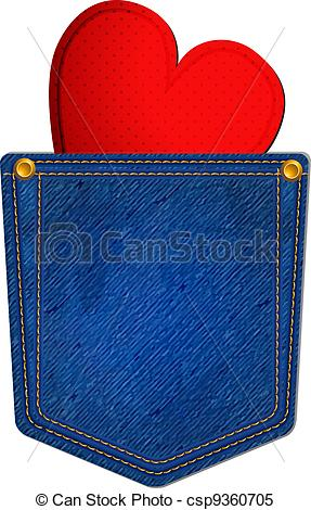 Clipart Vector Of Blue Jean Pocket With Heart   Jean Pocket Decorated
