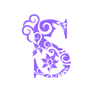 Graphic Design Of Flower Clipart   Purple Alphabet S With White