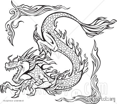 Tattoo Design Of A Dragon Clipart Illustration   Tattoo Artists Org