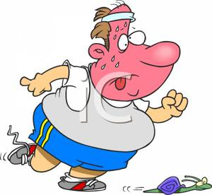 An Overweight Man Being Outrun By A Snail   Royalty Free Clipart