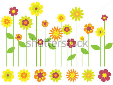 Bright Flower Border And Individual Flowers Stock Vector   Clipart Me