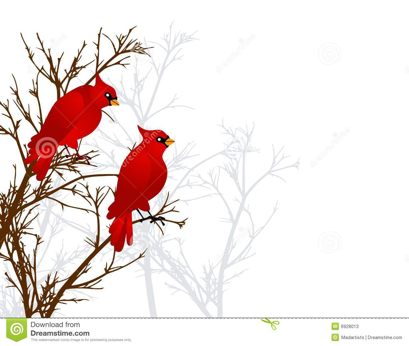 Clip Art Illustration Of 2 Red Cardinal Birds Sitting On A Branch In