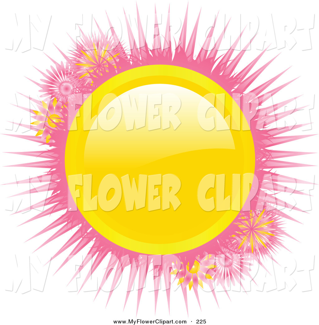 Clip Art Of A Bright Shiny Yellow Sun Orb With Pink Spikes On A White