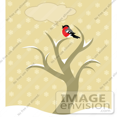 Clip Art Picture Of A Chatty Robin Bird Sitting On Top Of A Winter