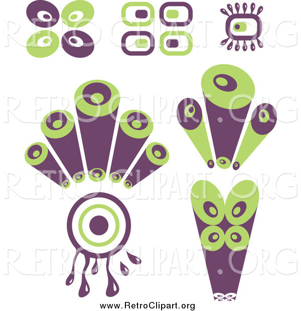 Clipart Of Purple And Green Retro Circle Designs By Prawny    858