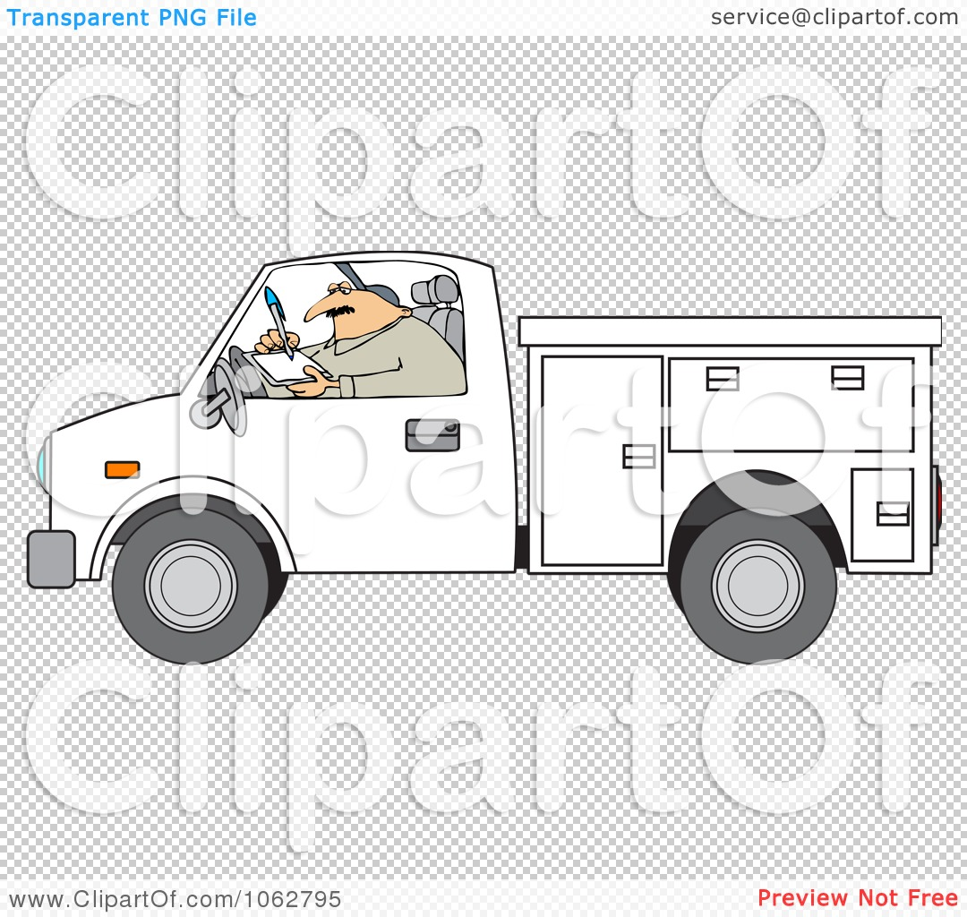 Clipart Worker Writing In A Utility Truck   Royalty Free Vector