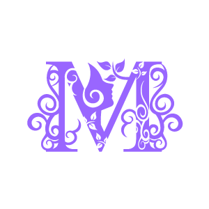 Graphic Design Of Flower Clipart   Purple Alphabet M With White