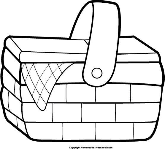 Basket Clip Art Black And White : Picnic basket clipart suggest