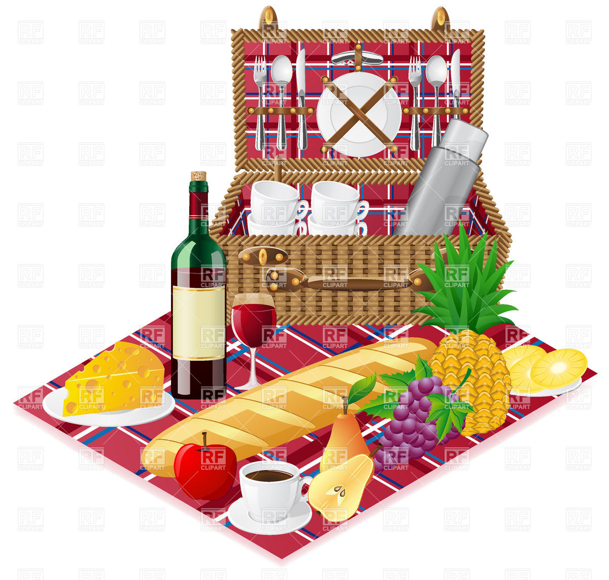 Open Picnic Basket Tableware And Foods Download Royalty Free Vector