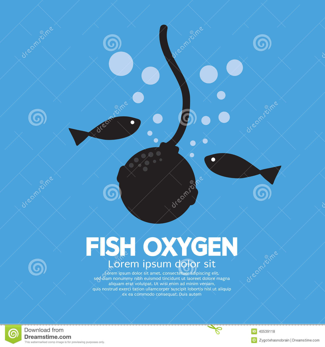 Oxygen For Fish Vector Illustration