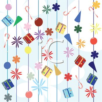 Party And Holiday Items Background   Royalty Free Clipart Image