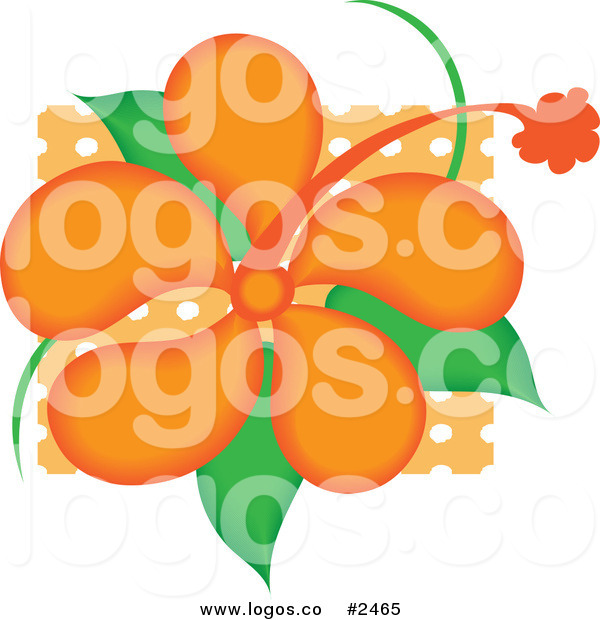 Royalty Free Vector Logo Icon Of A Bright Orange Hibiscus Flower With