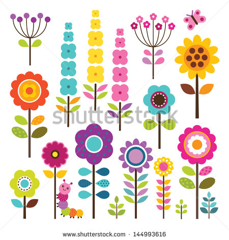 Set Of Retro Style Flowers And Insects In Bright Colors Isolated On